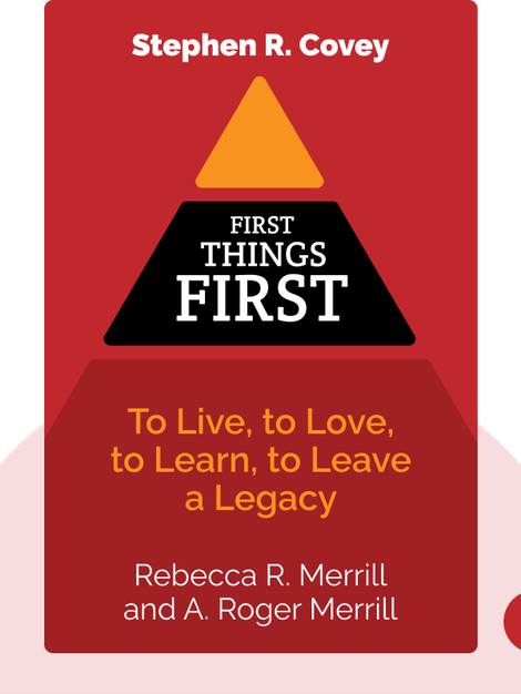 First Things First: To Live, to Love, to Learn, to Leave a Legacy by Stephen R. Covey, A. Roger Merrill and Rebecca R. Merrill